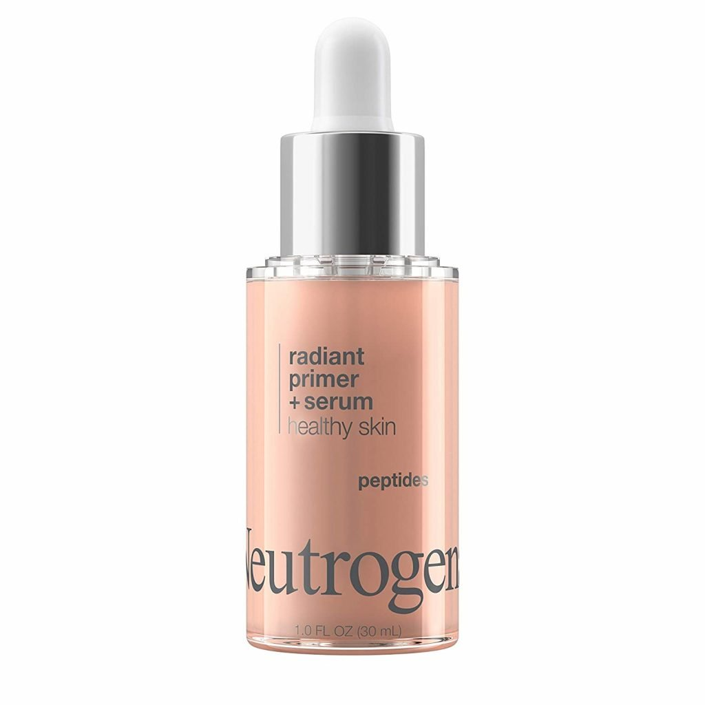 Neutrogena Healthy Skin Radiant Booster Primer & Serum, Skin-Evening Serum-to-Primer with Peptides & Pearl Pigments, Evens the Look of Skin's Tone & Smooths Texture