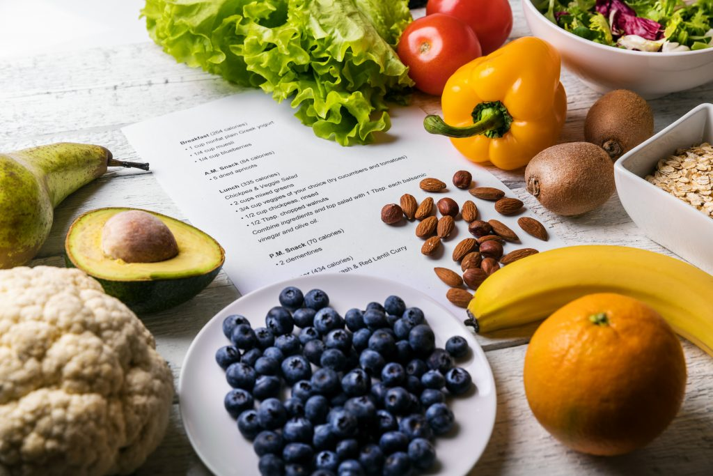 balanced diet plan with fresh healthy food on the table