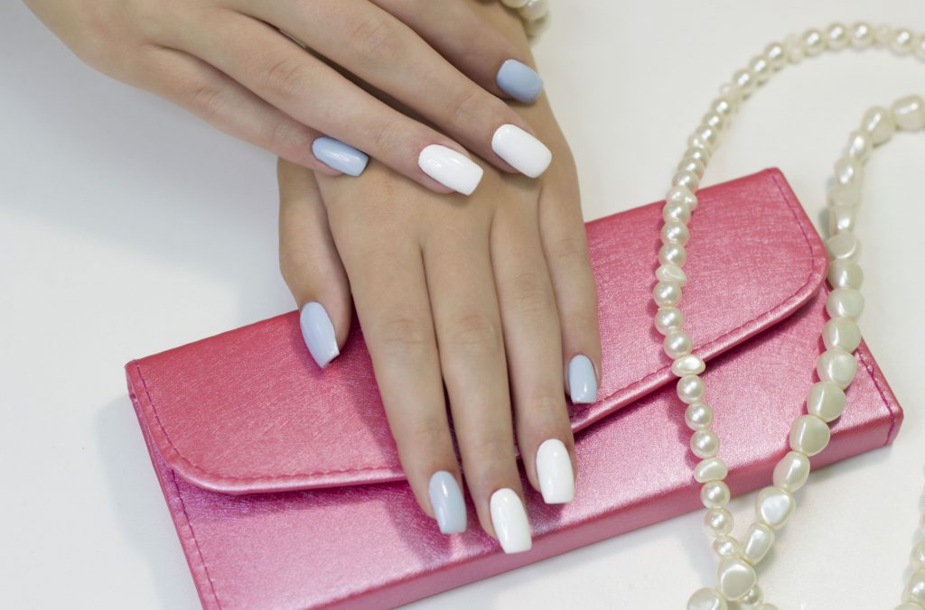 two-tone manicure with blue and white nail Polish
